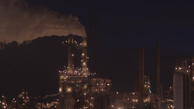 ws view of power plant at night / linden, new jersey, usa - power station stock videos & royalty-free footage
