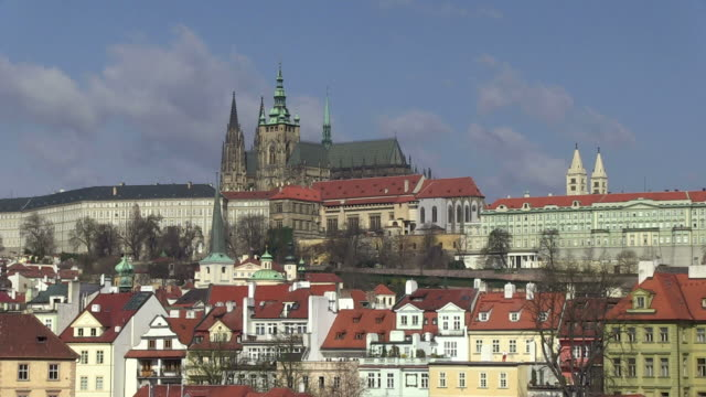 ws view of prague castle and st. vitus cathedral / prague, hlavni mesto praha, czech republic - hradcany castle stock videos and b-roll footage