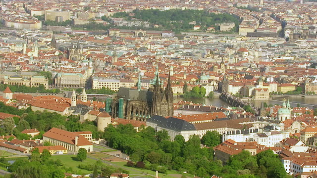 WS AERIAL DS View of Prague Castle and Vitava River / Prague, Czech Republic