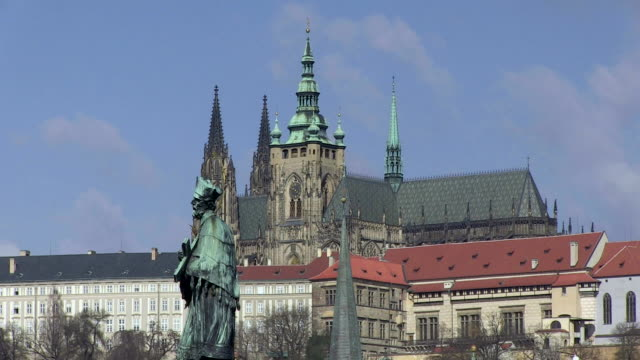 ms view of prague castle behind st.vitus cathedral / prague, hlavni mesto praha, czech republic - czech culture stock videos and b-roll footage