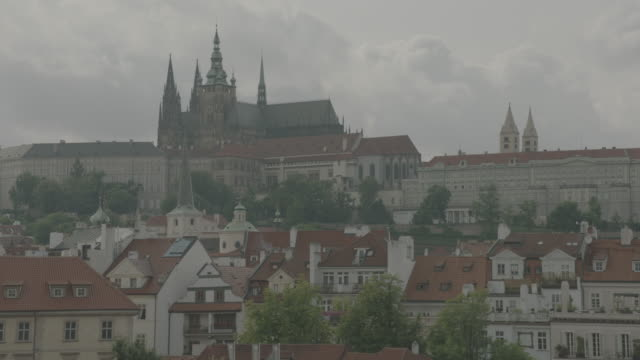 view of prague castle from charles bridge - hradcany castle stock videos and b-roll footage