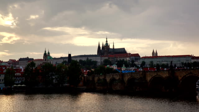 view of prague castle over charles bridge - traditionally czech stock videos and b-roll footage