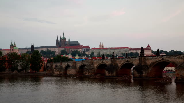 view of prague castle over charles bridge - charles bridge stock videos & royalty-free footage
