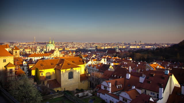 View of Prague from Prague Castle (Day-to-Night Timelapse)