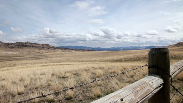 WS View of Prairie and beautiful big sky with fence / Augusta, Montana, United States