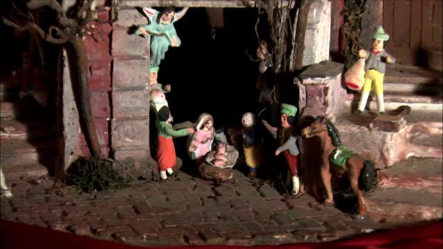 ws zo view of presepi (italian nativity/manger scenes) / italy  - キリスト降誕点の映像素材/bロール