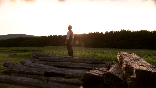 WS PAN View of President Abraham Lincoln standing in field and looking at distance during sunset / Clear Spring, Maryland, United States