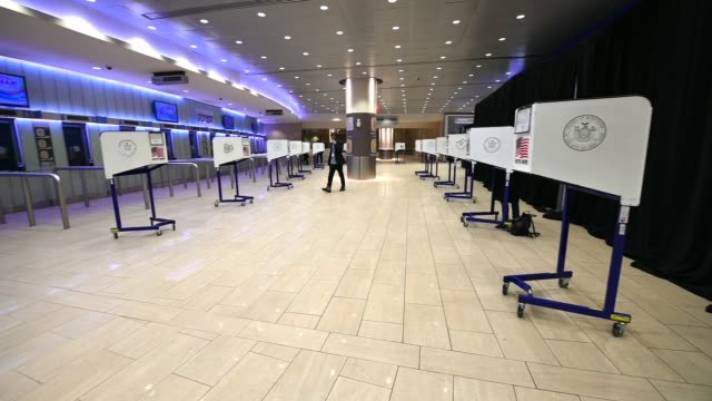 view of privacy booths on election day 2020 in a nearly empty madison square garden poll site on november 03, 2020 in new york city. after a... - joe 03 stock videos & royalty-free footage