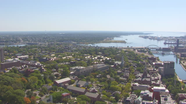 WS AERIAL POV View of Providence River with cityscape/ Providence, Rhode Island, United States