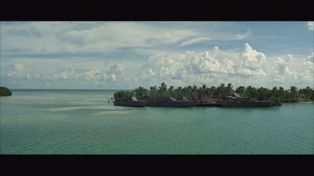 ws view of p-t boat docked at tropical island - strohdach stock-videos und b-roll-filmmaterial