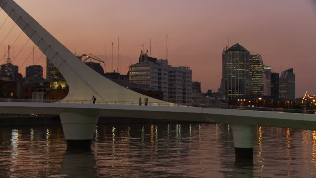 view of puente de la mujer in buenos aires, argentina - puerto madero stock videos & royalty-free footage