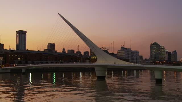 view of puente de la mujer in buenos aires, argentina - puente de la mujer stock videos & royalty-free footage