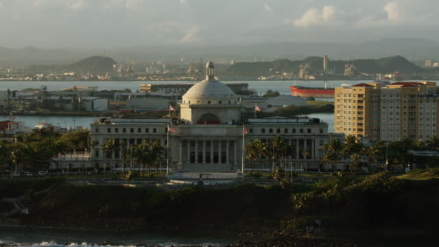 WS AERIAL POV View of Puerto Rico capitol building with city in background / Old San Juan, San Juan, Puerto Rico, United States