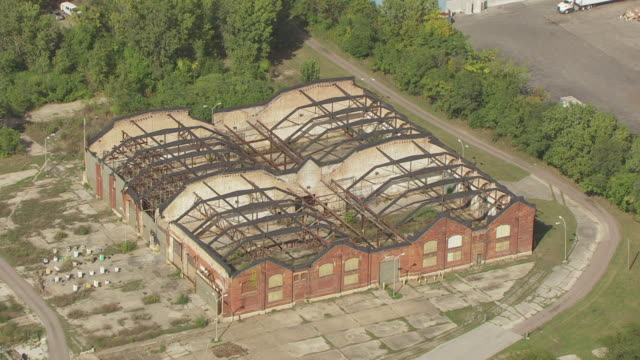 WS AERIAL POV View of Pullman old factory / Chicago, Cook County, Illinois, United States