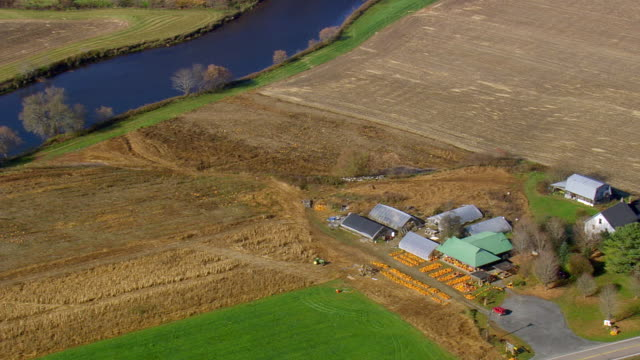 MS AERIAL View of Pumpkin store at farm / Vermont, United States