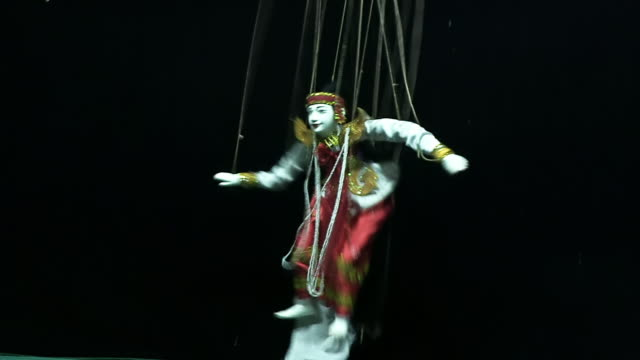 ws view of puppet on strings / mandalay, mandalay division, myanmar - puppet stock videos & royalty-free footage