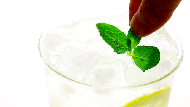 view of putting an apple mint on a lemonade - mint leaf culinary stock videos and b-roll footage