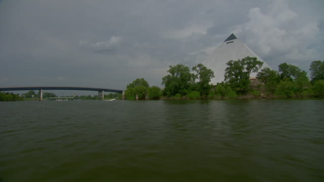 WS POV View of pyramid arena near wolf river / Memphis, Tennessee, United States