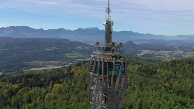 view of pyramidenkogel observation tower (highest wooden tower in the world) in karnten, austria - traditionally austrian stock videos & royalty-free footage