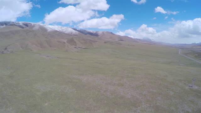 WS AERIAL View of Qinghai grassland plateau/Qinghai,China.
