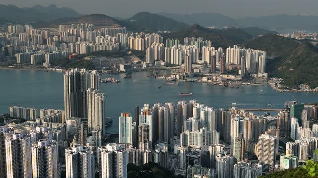 view of quarry bay and hong kong island, hong kong, china, asia - quarry stock videos & royalty-free footage