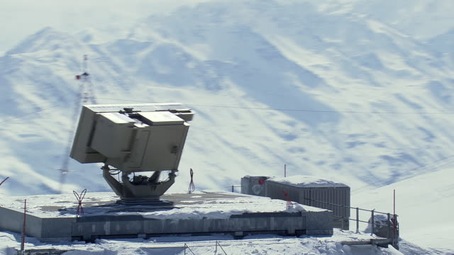 WS AERIAL View of Radar of signal at jacobshorn ski station / Switzerland