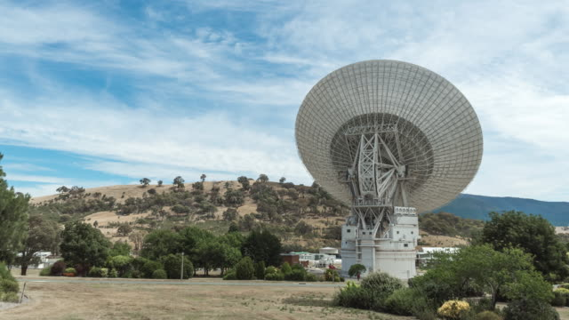 view of radio telescope of nasa in canberra - canberra stock videos & royalty-free footage