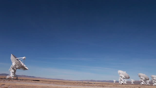 ws pan td view of radio telescopes in desert / lamy, new mexico, usa - lamy new mexico stock videos and b-roll footage