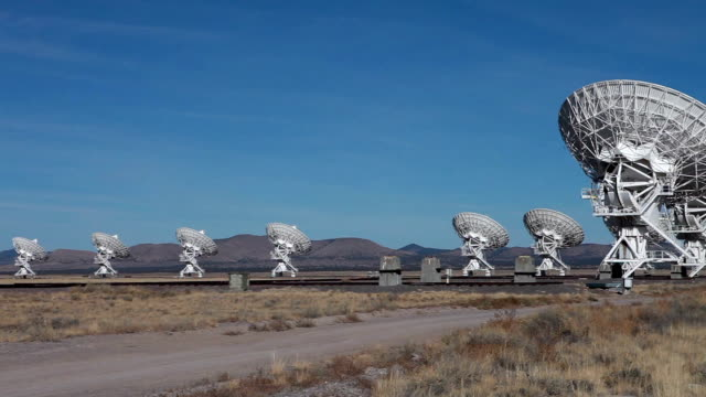 ws pan view of radio telescopes in desert / lamy, new mexico, usa - lamy new mexico stock videos and b-roll footage