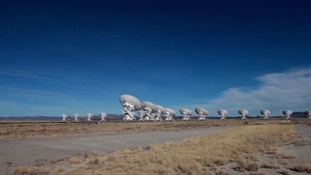 ws pan view of radio telescopes in the desert / lamy, new mexico, usa - lamy new mexico stock videos and b-roll footage