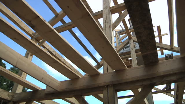 cu cs view of rafters of an energy efficient post and beam house using straw bales as insulating wall material / grass lake, michigan, usa      - energy efficient stock videos and b-roll footage