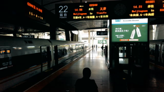view of railway station platform,beijing,china. - public transport stock videos & royalty-free footage