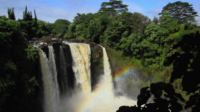 ws view of rainbow falls hilo / hilo, hawaii, usa - hilo stock videos & royalty-free footage