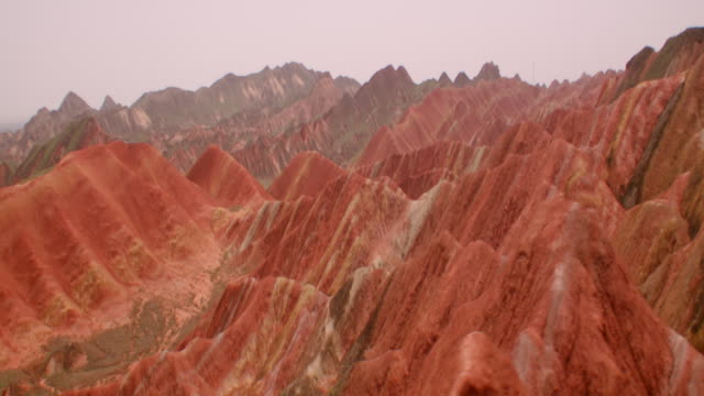 view of rainbow mountains in zhangye danxia landform, china - mountain range stock videos & royalty-free footage