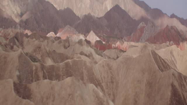 view of rainbow mountains in zhangye danxia landform, china - appuntito video stock e b–roll