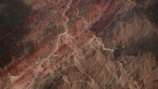 view of rainbow mountains in zhangye danxia landform, china - geology stock videos & royalty-free footage