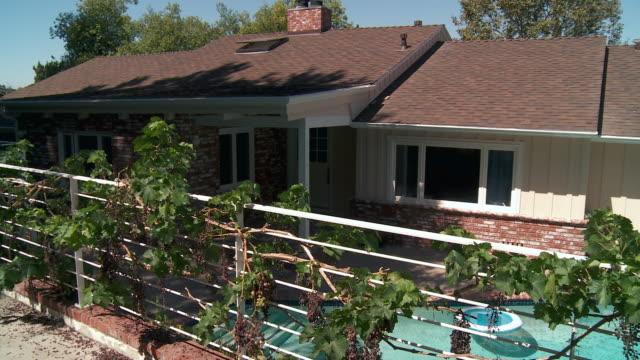 ws pan view of ranch style home backyard with swimming pool / sherman oaks, california, usa.  - sherman oaks stock videos & royalty-free footage