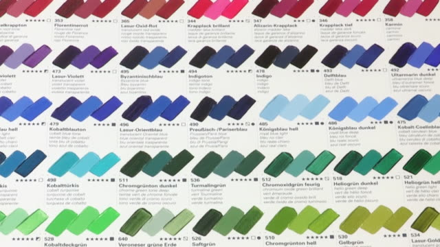 cu td view of range of oil paint colors on display / london, united kingdom - oil paint stock videos and b-roll footage