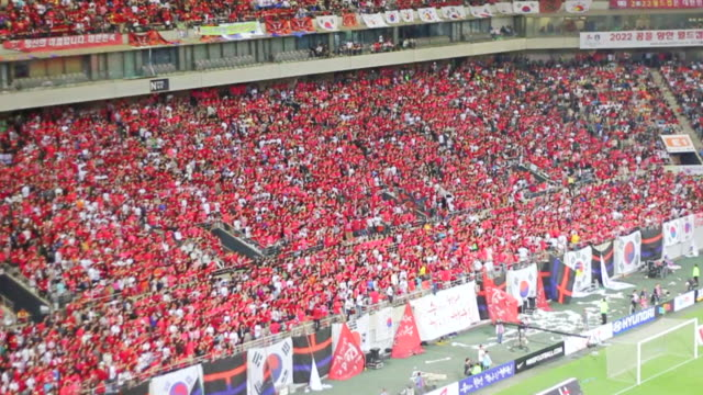 ws slo mo view of red devil (korean cheering squad) cheering at the seoul world cup stadium in sangam / seoul, south korea  - fifa world cup stock videos & royalty-free footage