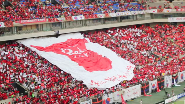 WS SLO MO View of Red Devil (Korean cheering squad) hand raised huge Red Devil T shirt printing Flag at the Seoul World Cup Stadium in Sangam / Seoul, South Korea