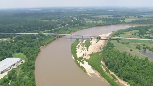 WS AERIAL View of Red river on bridge at Shreeveport  / Louisiana, United States