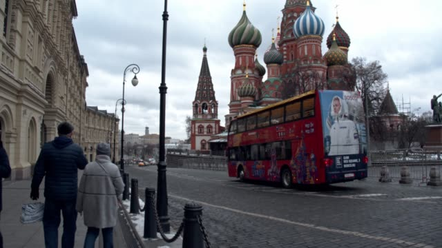 "view of ""red square"" in moscow, russia, on december 4, 2019. red square is a city square in moscow, russia. it separates the kremlin, the former... - red square stock videos & royalty-free footage"