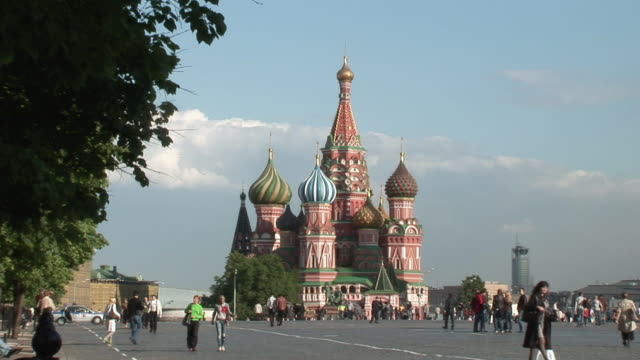 ws view of red square / moscow, russia   - st. basil's cathedral stock videos and b-roll footage