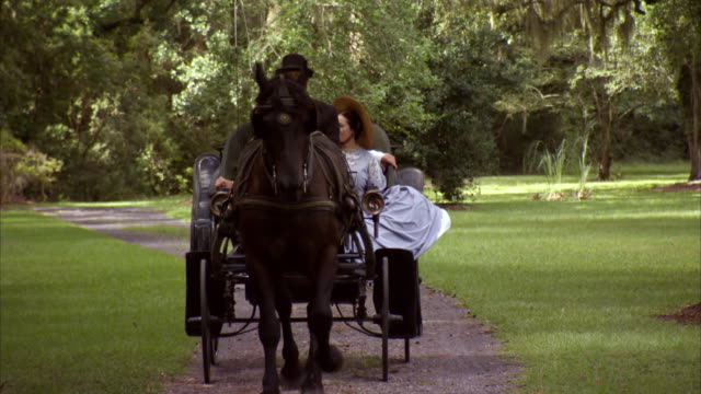 WS View of REENACTMENT President Abraham Lincoln and Mary Todd Lincoln riding in horse drawn carriage / United States