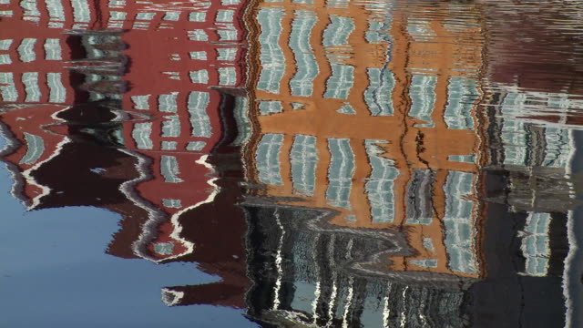 ws view of reflection of houses in nyman (new habour) / copenhagen, denmark, denmark  - denmark stock videos & royalty-free footage