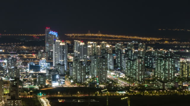 WS T/L View of Resident district in Cheongla new town at night / Incheon, South Korea