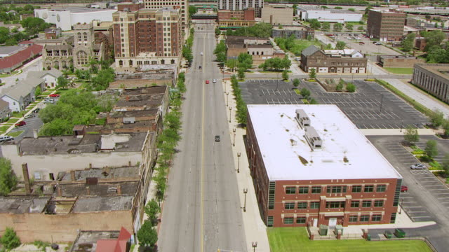 ws aerial pov view of residential buildings and steel mills along with gary street of uss steel gary works / lake county, gary, indiana, united states - indiana stock videos & royalty-free footage