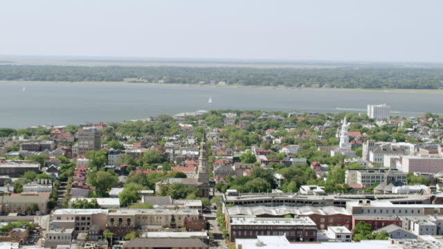 WS AERIAL POV View of residential district / Charleston, South Carolina, United States