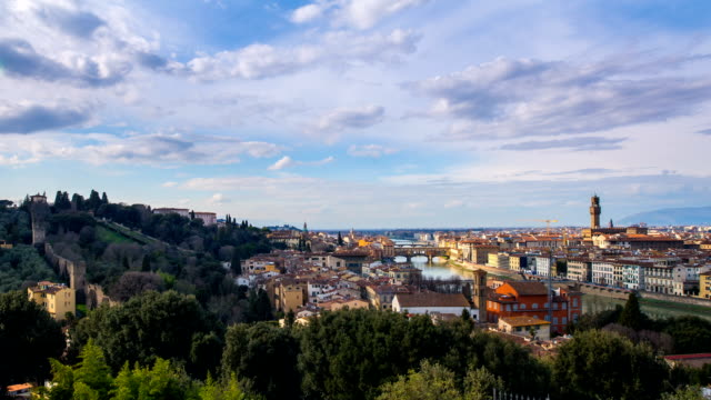 view of residential district included piazzale michelangelo(town square), duomo santa maria del fiore(famous cathedral) and ponte vecchio bridge - duomo santa maria del fiore stock videos and b-roll footage