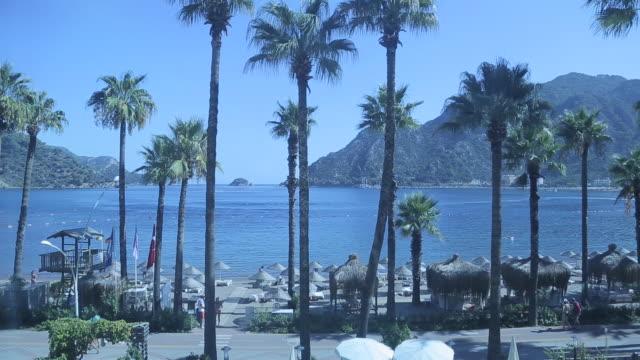 view of resort from hotel lift, iclemer, marmaris, anatolia, turkey - fahrstuhlperspektive stock-videos und b-roll-filmmaterial